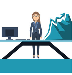 business woman shows to growing line chart vector image