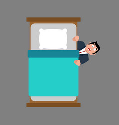 Businessman fears hiding under bed fear vector