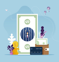 businessman in money prison-money problem vector image