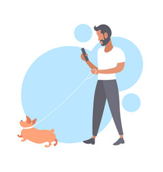 Casual man walking with dog bearded guy using vector