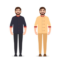 chef cook dressed in jacket bearded cute vector image