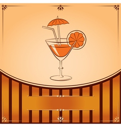 Cocktail glass with orange graphic with place for vector
