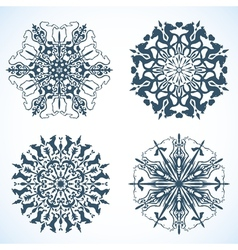 Collection of Snowflakes with horse vector image