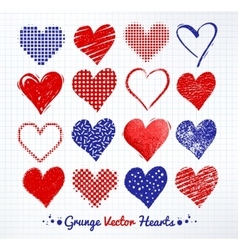 collections of grunge Valentine hearts vector image vector image