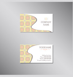 creative business card with pastel ornament vector image