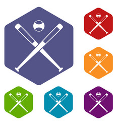 Crossed baseball bats and ball icons set hexagon vector