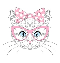 Cute cat portrait with pin up bow tie on head vector image