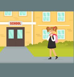 cute schoolgirl in uniform with backpack standing vector image