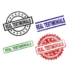 Damaged textured real testimonials seal stamps vector