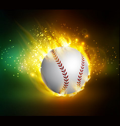 dirty baseball speeding through the air on fire vector image