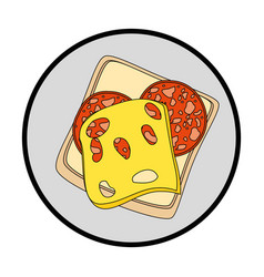Dish with food icon vector