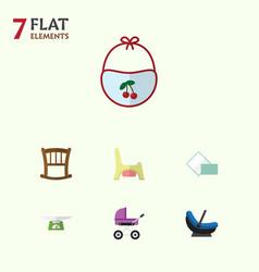 Flat baby set of children scales infant cot vector