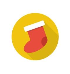 Flat christmas sock icon vector image
