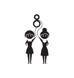 Flat icon in black and white girls balloon vector