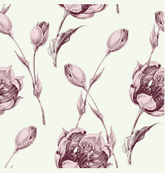 floral seamless pattern vintage style pink roses vector image
