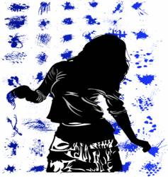 funky woman silhouette vector image