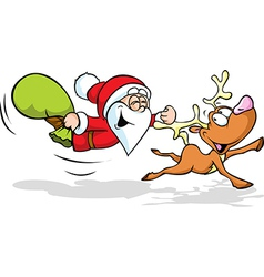 funny of santa and reindeer flying vector image