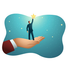 giant hand helping a businessman to reach out for vector image