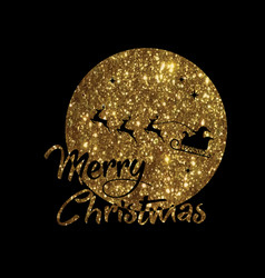 Golden glitter santa claus reindeer and moon vector