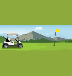 golf field flag and cart vector image