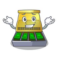 grinning cartoon vintage cash register front view vector image