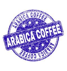 Grunge textured arabica coffee stamp seal vector