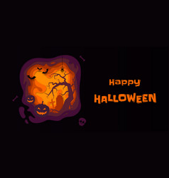 halloween banner pumpkin full moon graveyard vector image