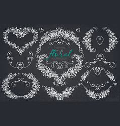 Hand drawn floral wedding and holiday collection vector