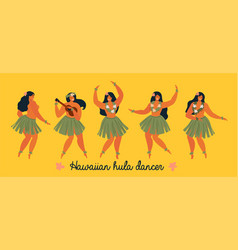 hawaiian hula dancers young pretty woman poster vector image