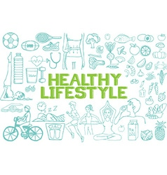 Healthy lifestyle icon set vector