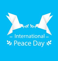 international peace day origami dove bird i vector image