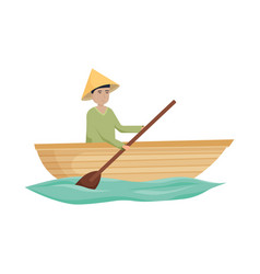Isolated object boat and vietnamese symbol set vector