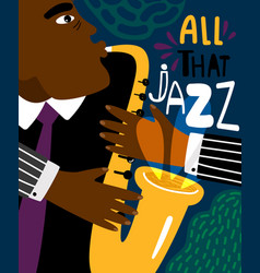 Jazz poster clubbing sax music placard vector