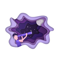 kid is looking stars with telescope universe vector image