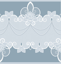 Lace pattern with pearls and roses vector