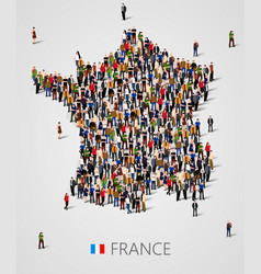 Large group of people in form of france map vector