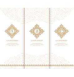 Luxury golden monograms vintage elements vector