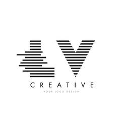 lv l v zebra letter logo design with black and vector image