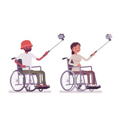 male and female young wheelchair user taking vector image