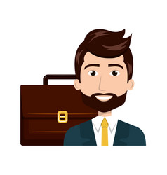 man cartoon suitcase isolated vector image