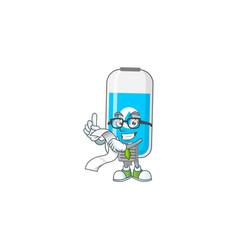 Mascot cartoon wall hand sanitizer with menu list vector