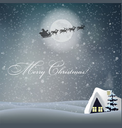 Merry christmas card with night landscape house vector