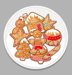 Merry christmas various gingerbreads on white vector