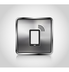 Metal icon smartphone wireless connection vector image