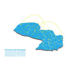 Modern of paraguay map connections network design vector