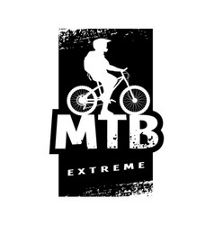 Mtb extreme and cyclist silhouette banner t vector