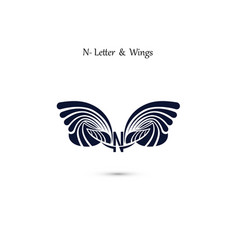 n letter sign and angel wings monogram wing logo vector image