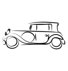 old retro car drawing on white background vector image
