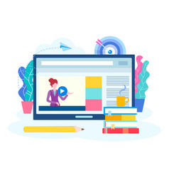 online lesson webinar seminar courses on the vector image