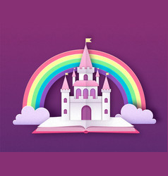 open fairy tale book with castle and rainbow vector image